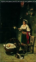 Eugenio Prati Madre amorosa 1877 olio su carta applicata su tela Collezione privata Trento