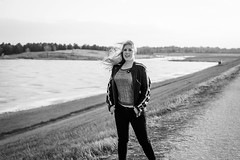 3 / 52 (Erin_Takes_Pictures) Tags: portrait blackandwhite lake selfportrait nebraska wind lincoln 52 fiftytwo holmeslake