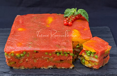 Colorful vegetable terrine with tomatoes, basil. eggplants, green pear and sweet pepper (***VR) Tags: christmas red party food holiday vegetables yellow blackbackground dinner tomato menu lunch pepper cuisine restaurant salad vegan healthy colorful flavor dish eggplant starter traditional tasty bio newyear fresh gourmet delicious slice snack meal vegetarian brunch basil dining appetizer buffet organic diet cooked culinary freshness nutrition terrine cherrytomato sweetpepper greenpear