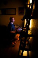 (heatherbirdtx) Tags: light portrait man male home computer dark office mood desk availablelight candid shelf study recessed