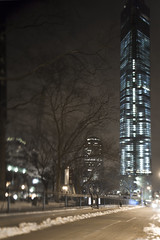 (Alessandro Frati) Tags: world park new york nyc snow ny blur tower ice night fence out t freedom 1 focus gate center wtc trade oof