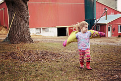flying in the wind (on the drive) Tags: white black spring farm rubberboots april14 showandtellcandc