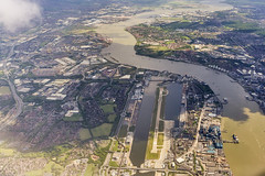 20140529_F0001: The London City Airport and surroundings (wfxue) Tags: road trees building london cars window water thames plane river circle air