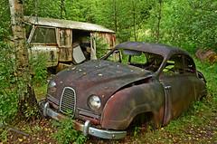 The old car Cemetery (saabrobz) Tags: cemetery car junk sweden ghost sverige junkyard scrapyard saab carcemetery bstns