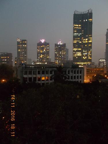 Bird's eye view from Vaibhav Apartments Terrace at Old Prabhadevi Road in Mumbai.