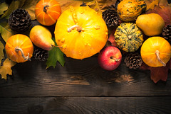 Autumn vegetables at dark wooden table. (nadiaborovenko) Tags: above agriculture apple autumn background celebration cone copy country decoration decorative fall falling farm festive flat flatlay food frame fresh garden halloween harvest holiday leaf nature november october orange organic pear plant pumpkin rural rustic season seasonal space texture thanksgiving top vegetable view vintage wooden yellow