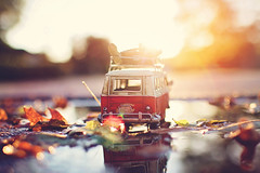 Always find time for the things that make you happy to be alive! (Sandra H-K) Tags: miniaturemonday miniature bokeh bus vwbus vw vintage puddle reflection sunshine sunflare sunny sunlight golden goldenhour toyphotography toy toybus dof depthoffield leaves autumnleaves