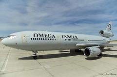Omega Air DC-10 N974VV (birrlad) Tags: victorville vcv airport storage california usa omega air n974vv mcdonnell douglas dc1040 dc10 tanker refueller ramp apron taxiway landing gear engine trijet
