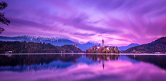 Sunset- Lake Bled (Slovenia) (FotografieTrippolt) Tags: autumn landscape lake water reflection travel church island sun clouds cloudscape nikon long exposure holiday slovenia bled sunset