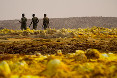 Dallol patrol, Ethiopia (hugemittons) Tags: ethiopia africa hornofafrica danakil dallol afar afarzone colorful colourful martian surreal african ethiopian soldier soldiers army defence military guard infantry security depression
