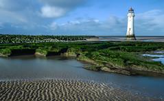 Perchrock (paul hitchmough photography) Tags: uk outside water leebigstop nikon247028 nikond800 rivermersey lighthouse wirral perchrock longexposure paulhitchmoughphotography