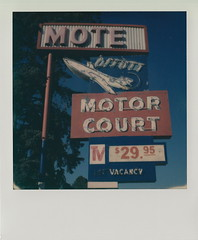 Offutt Motor Court (DavidVonk) Tags: vintage instant film analog polaroid impossibleproject 119a sx70 sonar neon sign motel offutt airforce base omaha bellevue nebraska motor court jet age contrail aero air plane