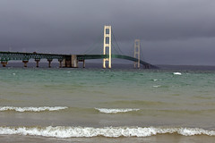 """Spotlight"" on Big Mac (Jan Nagalski) Tags: storm dark darkclouds stormy ominous threatening waves wavecrests breakingwave bridge bigmac mackinacbridge mackinawcity stignace michigan straitsofmackinac lakemichigan lakehuron jannagalski jannagal rain rainy weather nature"