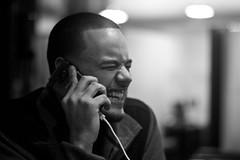 C4 to ya Ear (Brotha Kristufar) Tags: portrait portraiture monochrome monochromatic blackandwhite phone talk indoor indoors fun comedy 50mm canon nyc thebronx good times explore explored