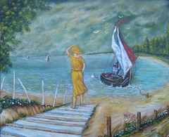 WAITING (tomas491) Tags: oilpainting art marinepainting sailboats sailboat beach lady woman girl forest seagulls sky clouds blowing sail fantasypainting