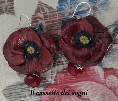 or. papaveri (Il cassetto dei sogni) Tags: orecchini papaveri artigianali pastadimais rosso
