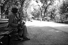 Sax in Central Park (rob.sidlow) Tags: sax saxaphone saxophonist music central park manhattan new york newyork thebigapple nyc mono monochrome busking street streetphotography streetcliche portrait portraiture canon 700d sigma art lens