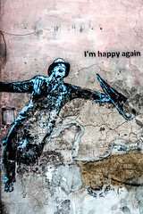 I'm Happy Again (M.D.Lord) Tags: 2016 poland outdoor krakow imhappy happy again imhappyagain man umbrella paint painting crack lines wall rust mould canon eos 70 davidlord blue black texture