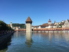Lucerne water tower and chapel bridge - Kapellbrücke - D (seththompsonartist) Tags: kapellbrücke lucerne tower bridge water switzerland