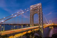 George Washington Bridge (Photos By RM) Tags: georgewashingtonbridge george washington bridge newyork newjersey fortlee longexposure evening bluehour stars lightstream travel tourism gwbridge gwb nyc