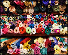 King Textiles, Spadina Avenue, Toronto (Sally E J Hunter) Tags: fashiondistrict garmentdistrict queenstreetwest queenstreet queenwest kingtextiles fabric textile bolts toronto spadina