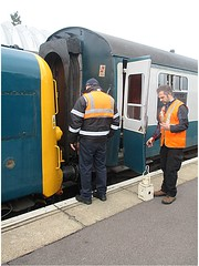 Deltic 55019 is coupled to the stock at Ongar, EOR 08.10.16 (Trevor Bruford) Tags: eor epping ongar heritage railway br blue train diesel locomotive deltic d9019 9019 55019 royal highland fusilier napier ee english electric dps preservation society