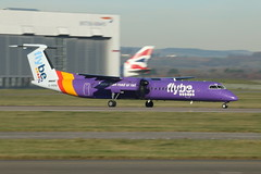 G-PRPB take off. (aitch tee) Tags: cardiffairport aircraft airliner flybe dhc8 gprpb takeoff cwlegff maesawyrcaerdydd walesuk