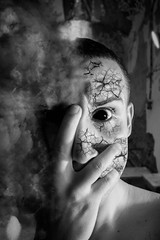 Getting in (luisalvarez18) Tags: demonentity entity human disappearing smoke blackeye cracked dragging blackandwhite possession demonic demon infernal hell