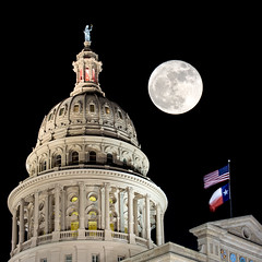 La Luna de Tejas (Danny Shrode) Tags: texas capitol austin moon flags blackbackground architecture night