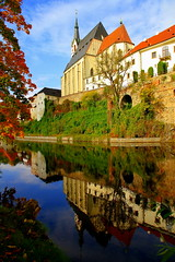 Six hundredth autumn of the temple (mark.paradox) Tags: czechrepublic stvituschurch town landscape view reflection color autumn nature travel architecture river bank hill water vltava history unesco oldtown tower             wow