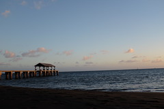 Sunset, Waimea Beach (Casey Fox) Tags: sunset kauai hawaii waimea waimeabeach pier twilight ocean pacificocean sky