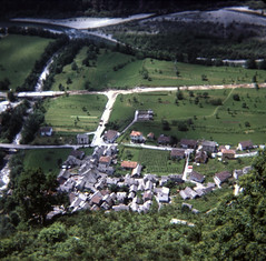 img175 (foundin_a_attic) Tags: switzerland july 1975 view stone roof roofs fields hill green trees chalet swiss mountain