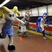The Triangle mascots make a dash for the last train to Raleigh. Photo by Chuck Liddy.