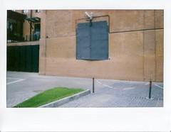 well-known secret door (dadadanner) Tags: door urban building brick green film architecture facade industrial factory pavement geometry moscow wide instant fujifilm instax instantfilm