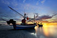 Huahin, Thailand (Noom HH) Tags: ocean travel sunset sea sky seascape beach water sunrise landscape thailand boat fishing fisherman sand asia wave thai fishingboats huahin