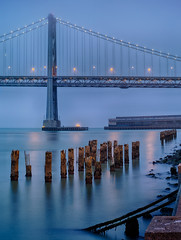 Embarcadero (mikeSF_) Tags: california city morning bridge blue seascape mike water skyline night sunrise landscape concrete photography lights bay pier twilight san francisco waterfront pentax howard clear civil hour embarcadero pilings 75mm oria smca 7528 645d pentax645d httpmikeoriazenfoliocom