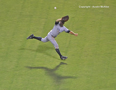 Fly Ball - Yankees at Rangers- 2013 (akmcafee9) Tags: new york shadow green sports grass ball major fly frozen jump nikon baseball time action 300mm pros pro glove nikkor past yankee base americas league d3 pasttime inning mlb