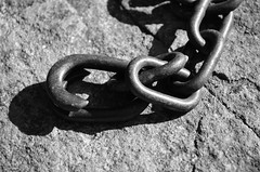 Chain and Shadow (pjpink) Tags: summer blackandwhite bw rock manchester virginia chains iron rusty august richmond links rva 2013 pjpink