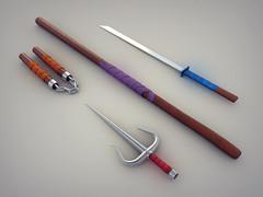 Sword Series: Teenage Mutant Ninja Turtles Weapons (DLGNCE) Tags: illustration 3d ninja cinema4d c4d turtles fantasy mutant leonardo michelangelo swords raphael donatello tmnt teenage stuartwade swordseries