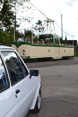 Ford Fiesta (1981 Mark I 1.6 Supersport Badged as a 1700S – SDB 177X) with Blackpool Boat Tram (Paul D Cheetham) Tags: show classic ford museum boat fiesta village mark tram 1981 16 tramway blackpool sdb 1700s supersport crich badged 2013 i 177x blackpoolboroughcouncil sdb177x