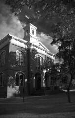 Jacksonville Courthouse (Nick Kanta) Tags: trees sky blackandwhite bw building architecture clouds oregon nikon monochromatic historic jacksonville courthouse d90