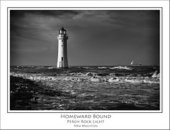 Homeward Bound, Perch Rock Light, New Brighton (Mike Parr) Tags: blackandwhite lighthouse water river landscape mono blackwhite riverfront wallasey wirral newbrighton merseyside landscapephotography rivermersey wirralpeninsula newbrightonlighthouse mikeparr perchrocklighthouse flickriver newbrightonpromenade mikeparrphotography fujixpro1