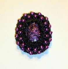 Black and Pearl Brooch (floyfreestyle) Tags: black purple crystal handmade brooch pearl dichroicglass