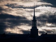 winter sun (miemo) Tags: city winter sky sun sunlight tower church silhouette skyline clouds finland helsinki europe rooftops olympus telephoto töölö omd em5 kristuskyrkan panasonic100300mm
