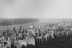 (minna-L) Tags: city nyc bw usa newyork monochrome america skyscraper vintage cityscape unitedstates centralpark manhattan bridges upperwestside topoftherock 450d