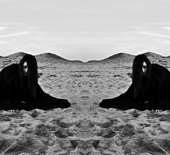 Symplegades* (Despina Titoni) Tags: city portrait blackandwhite bw beach girl by female landscape greek mirror sand nikon rocks photographer young inspired greece homer conceptual odyssey effect mythology wandering myths katerini olympicbeach symplegades d3100 planctae