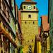 Rothenburg ob der Tauber, Georgengasse und 'Weißer Turm'