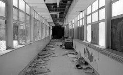 Glass Walls (.:Axle:.) Tags: school bw toronto ontario canada slr abandoned film television 35mm blackwhite tv education nikon ruins kodak decay 11 highschool urbanexploration scifi learning sciencefiction 135 fx destroyed f4 ue urbex kodakpanatomicx xtol nikonf4 filmphotography panatomicx asa32 instution instutional afnikkor35mm12d fallenskies believeinfilm