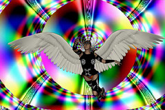 Angel Warrior (ICARUSISMART) Tags: blue sunset red sky music white abstract flower colour cute green art love nature water electric angel digital poster landscape fun cool rainbow funny artist geek secret humour case retro fantasy warrior vision:text=0531 vision:outdoor=0669 vision:plant=0614