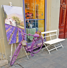 Bicycle in violet (Banana Muffin (Antonio)) Tags: city white flower bicycle bar bench landscape nikon waiting paint downtown hungary time market tea centre capital budapest violet cycle pause d700